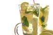 cool fresh aromatic lemon drink with lemon wedges