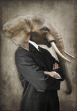 Elephant in a suit. Man with the head of an elephant. Concept graphic in vintage style. - 201544987