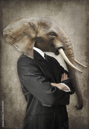 Garden Poster Hipster Animals Elephant in a suit. Man with the head of an elephant. Concept graphic in vintage style.