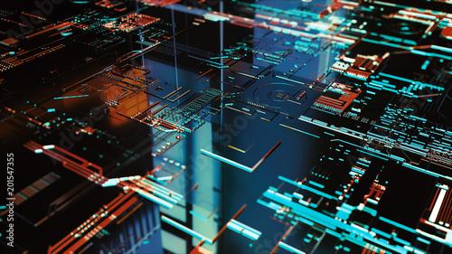 Fotografía  Digital binary data and electronic circuit board