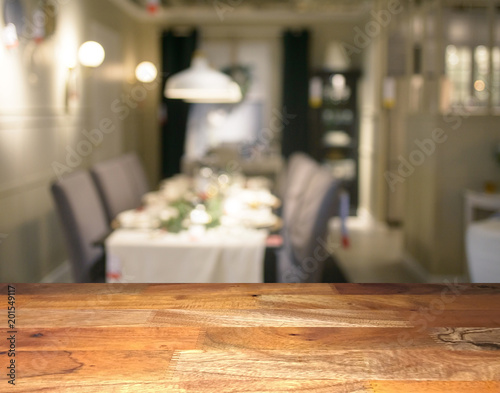 Fine Empty Wooden Display Table Top Front With Blurred Dining Download Free Architecture Designs Scobabritishbridgeorg