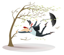 Strong Wind, Flying Leaves And A Man Lost His Hat And Umbrella Trying To Keep His Life Catching A Tree Isolated On White Illustration