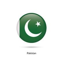 Pakistan Flag - Round Glossy Button. Vector Illustration.