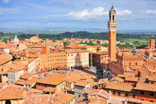 City View Of Siena, Tuscany, Italy, With Bell Tower And Square: Torre Del Mangia And Piazza Del Campo.