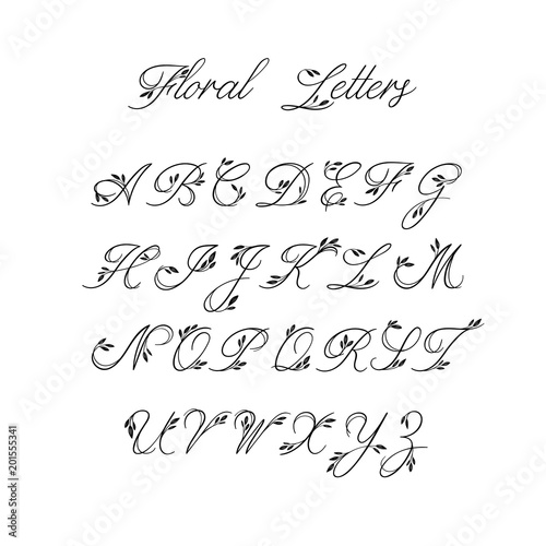 Calligraphy Alphabet Decorative Handwritten Brush Font Vector Letters Wedding ABC For
