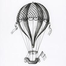 Hand Drawn Hot Air Balloon Iso...