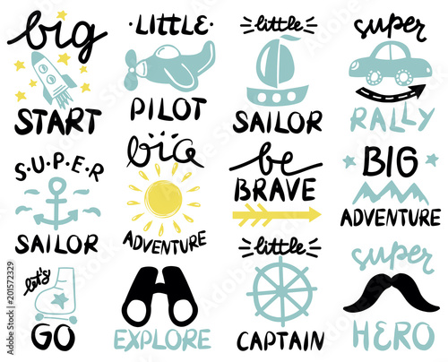 Canvas Print 12 baby logo with handwriting Big start, Little Pilot, Super Sailor, Adventure, Be brave, Lets GO, Explore, Captain, Hero, Rally