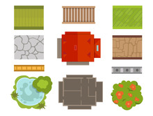 House Landscape Constructor Urban Townhouse Construction Infrastructure Vector Illustration.