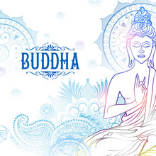 Lord Buddha In Meditation For Buddhist Festival Of Happy Buddha Purnima Vesak