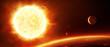Leinwandbild Motiv Große Sonne mit Planeten