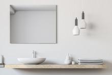 Bathroom Sink, Square Mirror C...