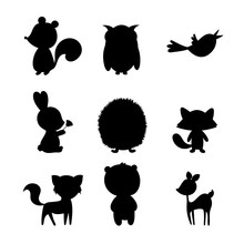 Animal Forest Silhouette Vector