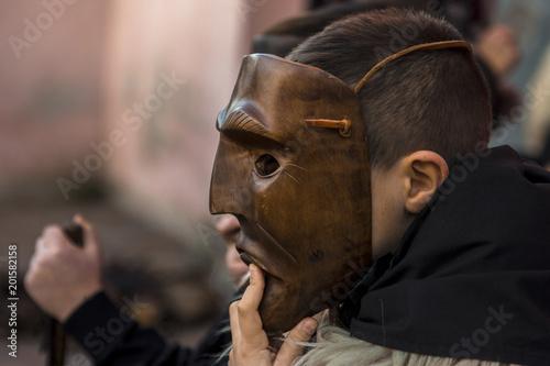 Ottana, Sardinia - Parade of traditional masks of Sardinia at the Carnival 2018
