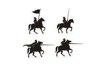 Horseback Knight Silhouette, Horse Warrior Medieval Logo Design Inspiration