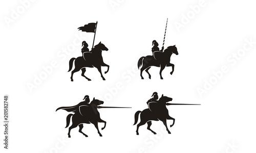 Horseback Knight Silhouette, Horse Warrior Medieval logo design inspiration Poster Mural XXL