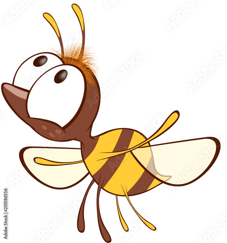 Fotobehang Babykamer Illustration of a Cute Yellow Bee. Cartoon Character