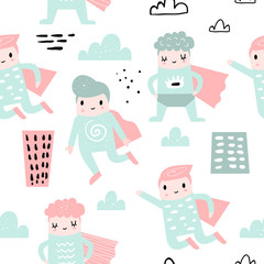 Childish Seamless Pattern with Boy Super Hero. Children Background with Brave Baby Boys for Fabric, Print, Wrapping, Wallpaper. Vector illustration