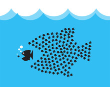 Little Fish Eat Big Fish. Unity, Teamwork, Organize Concept. Fishes Unite Fight With Big Fish. Vector Illustration