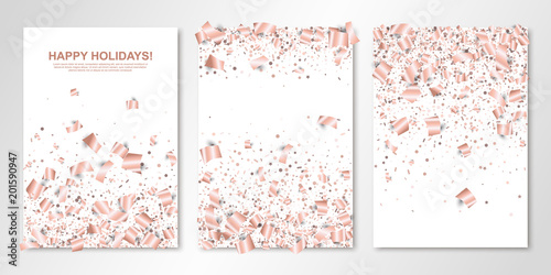 Fototapeta Banners Set With Falling Rose Gold Paper Confetti On White Vector Flyer Design Templates For Wedding Invitation Cards Save The Date