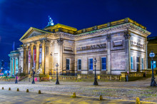 Night View Of The Walker Art Gallery In Liverpool, England