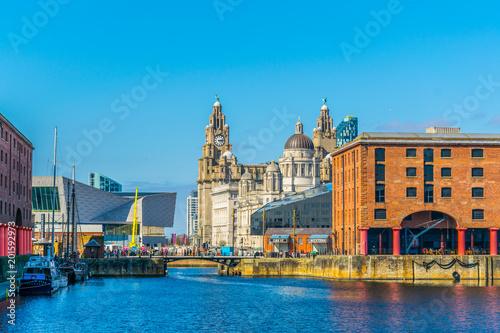 Skyline of Liverpool through albert dock, England Canvas Print