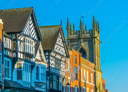 Foto auf Gartenposter Blau Traditional wooden houses in Chester, England
