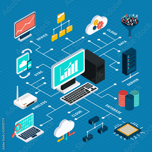 Data Analysis Isometric Infographics Layout Wallpaper Mural