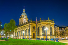 Night View Of The Cathedral Of Saint Philip In Birmingham, England