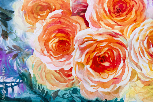 Malowanie flory sztuka akwarela oryginalny ilustracja pomarańczowy, czerwony kolor róż