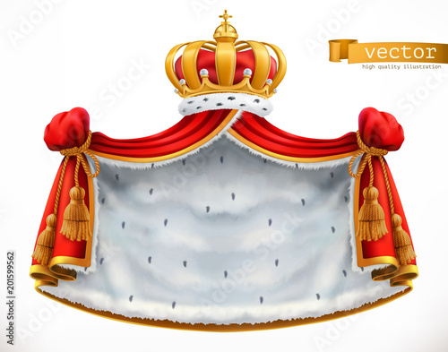 Foto  Royal mantle and crown. 3d vector icon