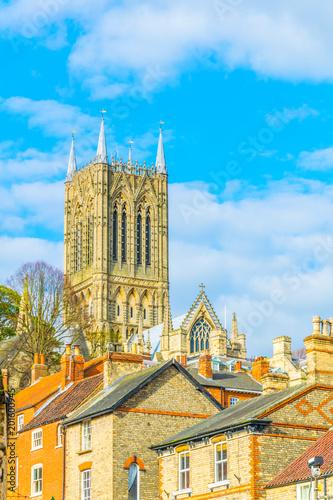 Fotografia  View of the lincoln cathedral, England
