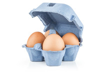 Brown Chicken Eggs In A Blue Carton Box Isolated On White Background Set Of Four.