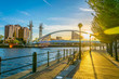 canvas print picture - View of a footbridge in Salford quays in Manchester, England