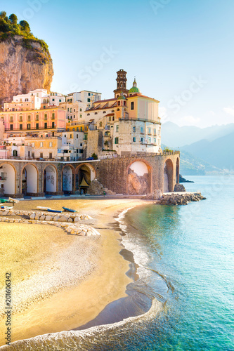 Amalfi cityscape on coast line of mediterranean sea, Italy Wallpaper Mural