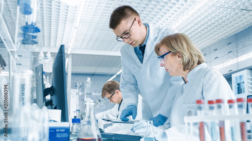 Fotografia  In Modern Laboratory Senior Female Scientist Has Discussion with Young Male Laboratory Assistant