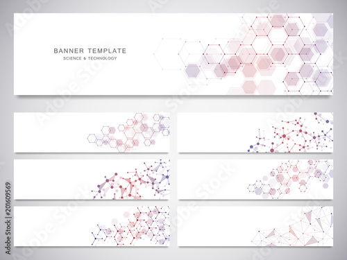 Fototapeta Big set of science and technology banners. Molecular and chemical structure. obraz