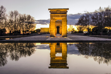 Sunset at the egyptian Debod Temple in Madrid, Spain