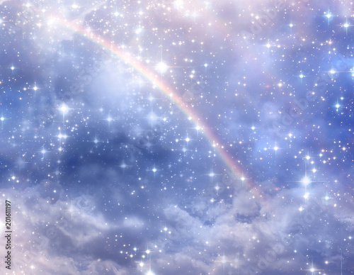 Photo divine, mystical, angelic blue background with cloudy sky, rays of light and sta