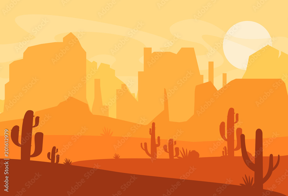 Fototapeta Vector illustration of Western Texas desert silhouette. Wild west america scene with sunset in desert with mountains and cactus in flat cartoon style.