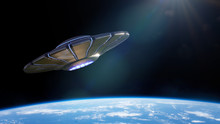 UFO, Alien Spaceship In Orbit Of Planet Earth, Extraterrestrials From Outer Space In Flying Saucer