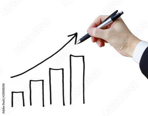 Fotografía  棒グラフを書くビジネスマン
