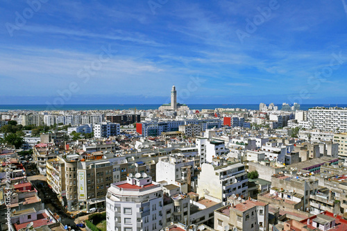 Panoramic aerial view of casablanca, with Hassan II Mosque, Morocco Fotobehang