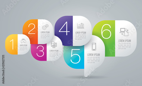 Infographics design vector and business icons with 6 options. Wallpaper Mural