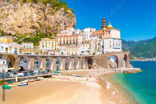 Poster de jardin Europe Méditérranéenne Amalfi cityscape on coast line of mediterranean sea, Italy