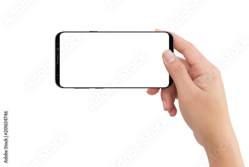 Fényképezés  Isolated human right hand holding black mobile white display smartphone