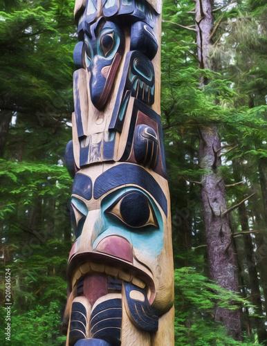 Fotografie, Obraz  Haida totem pole in Alaska.