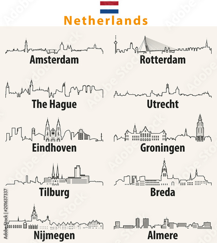 Photo sur Toile Rotterdam vector outline icons of cities Netherlands skylines