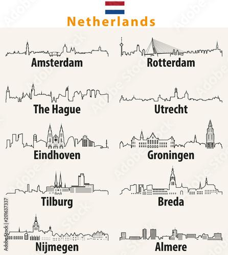 Poster de jardin Rotterdam vector outline icons of cities Netherlands skylines