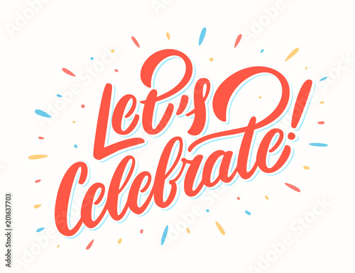Canvas Print Let's celebrate banner. Vector lettering.