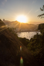 Guanabara Bay Shore In Rio De Janeiro City At Sunset Seen By Urca Stone